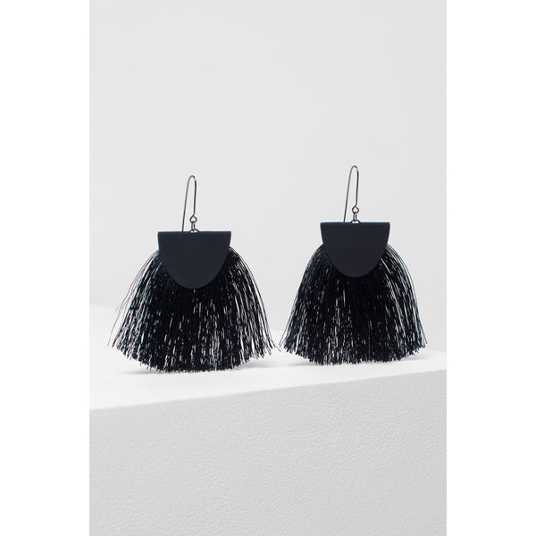 Elk Holm Tassel Earrings Black, Elk Earrings, Elk Jewellery, Elk NZ