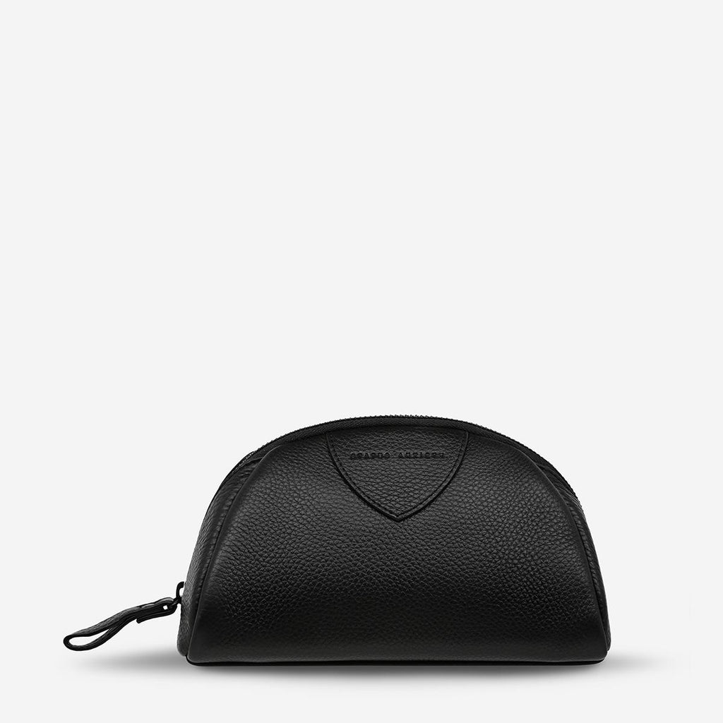Status Anxiety Adrift Cosmetics Bag Black, Status Anxiety NZ Stockist, Leather Cosmetic Bag