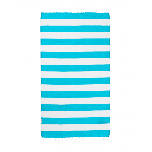 Hammamas Turkish Towel Bold Aqua/White