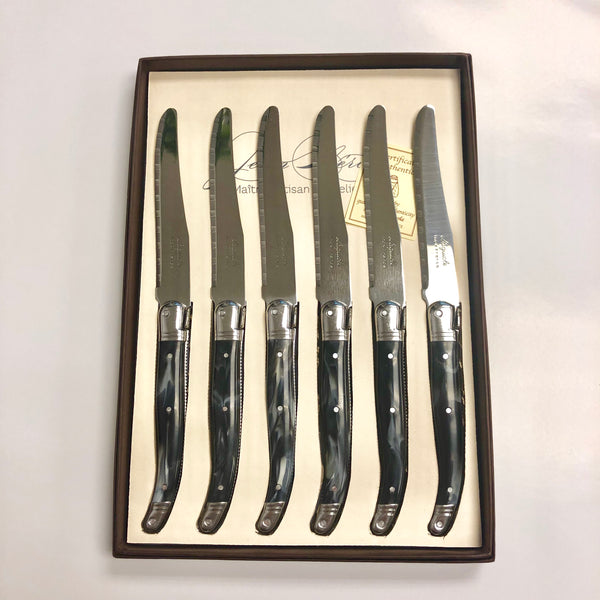 Laguiole Black Marble Table Knives