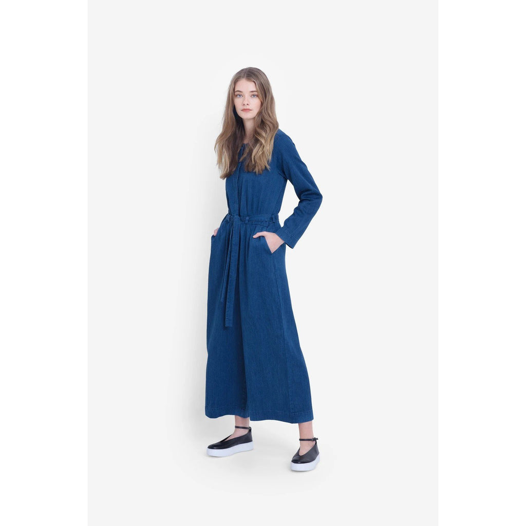 Elk Karrie Jumpsuit, Organic cotton and hemp jumpsuit, blue long sleeve, wide leg, jumpsuit, Elk NZ Stockist