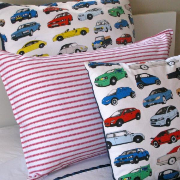 Cars Cars Cars Euro Pillowcase, NZ made bed linen, cotton bed linen