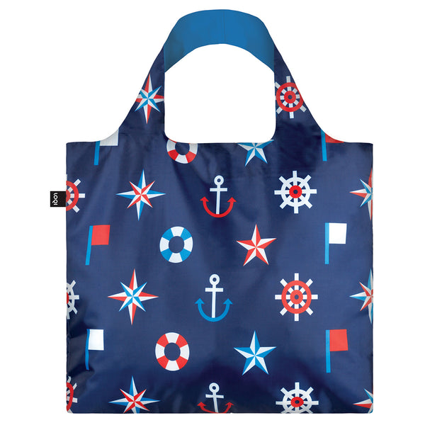Loqi Reusable Shopping Bag Nautical Collection Classic, Reusable Carry Bag, Foldable Carry Bag, Until NZ