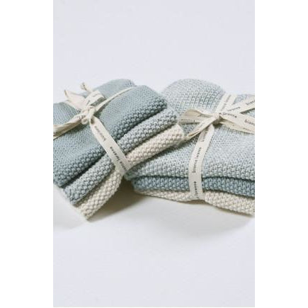 Bianca Lorenne Lavette Knitted Cotton Washers Duck Egg