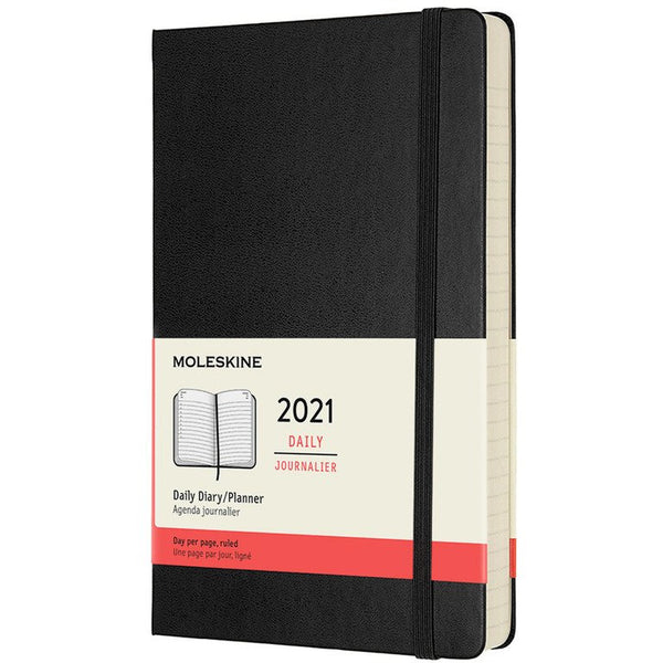 12 Month Hardcover Daily 2021 Diary  - 2 Colours Calendars + Diaries Black Moleskine