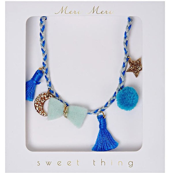 Blue Plaited Necklace Kids Hair + Jewellery Default Title Meri Meri