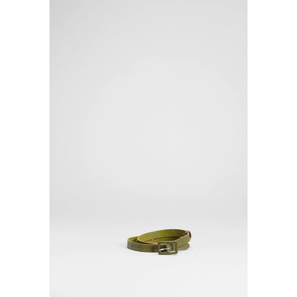 Elk Clothing Olive Green Celery Leather Metti Belt, Elk NZ Stockist