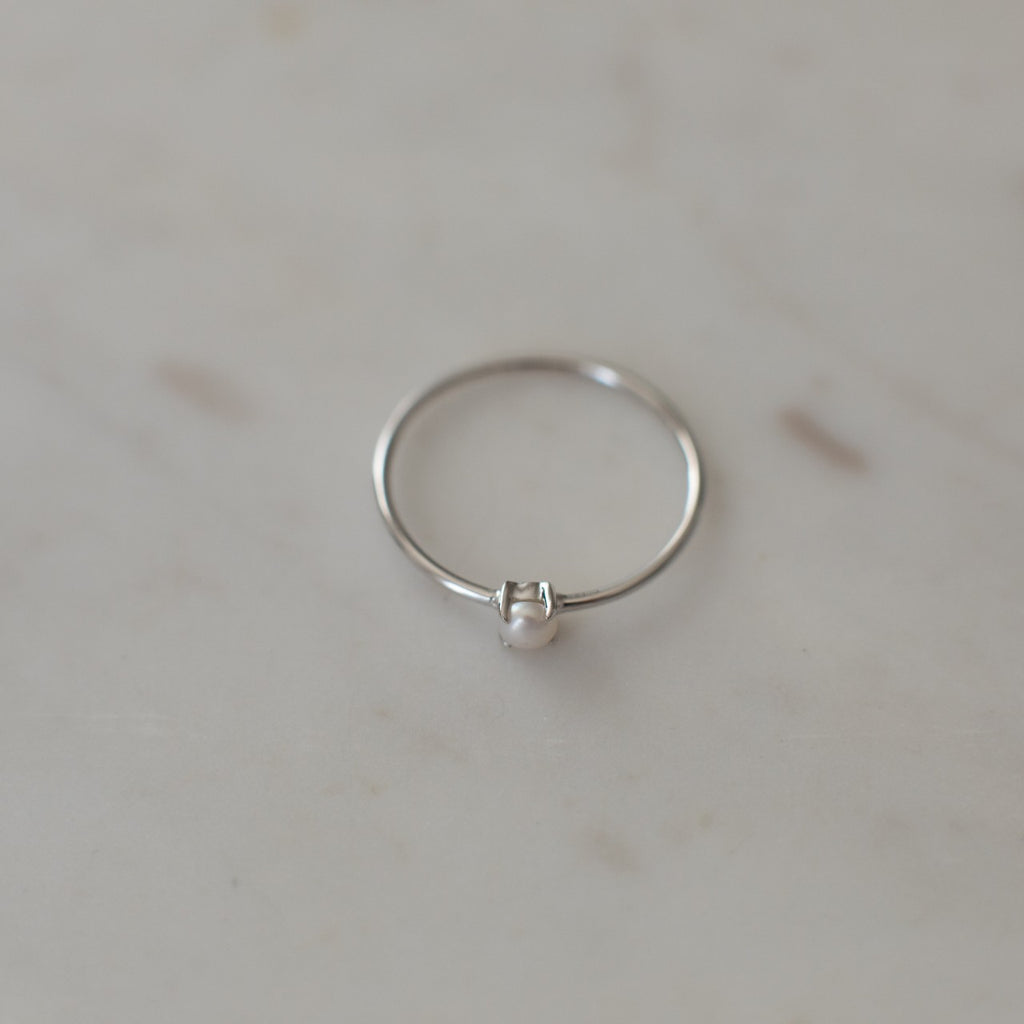 Mini Pearl Ring - 2 Colours Rings Silver / S,Silver / M,Silver / L S O P H IE