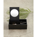 Tokyo Black Accessories Box with Mirror Jewellery Holders Black Nel Lusso