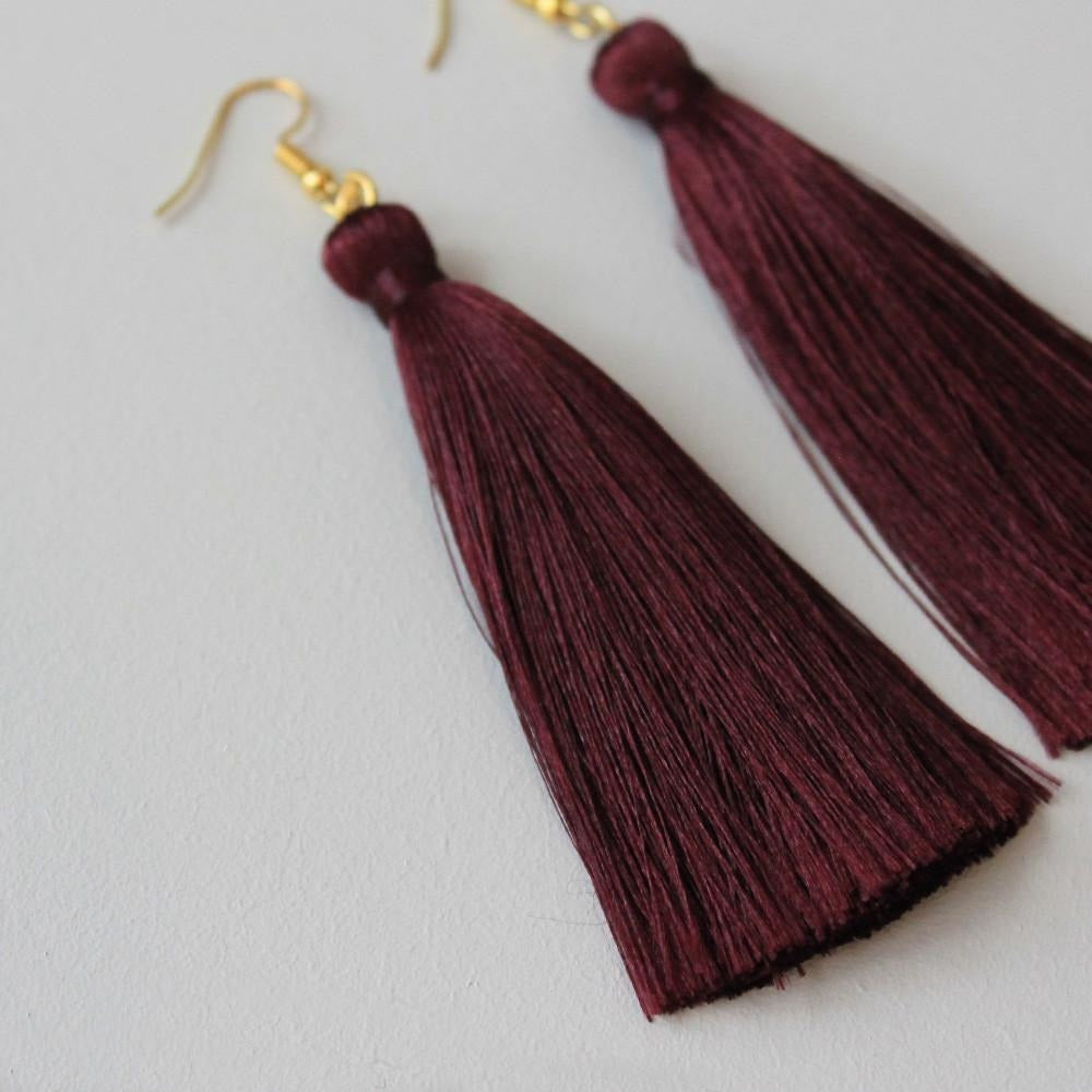 Ore Design Silk Tassel Earrings - Burgundy