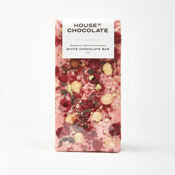 House of Chocolate Raspberry, Hazelnut, Cacao White Chocolate Bar NZ Made