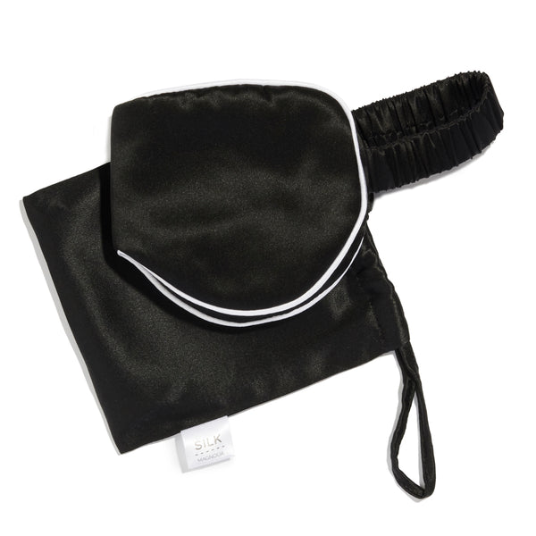 Pure Silk Eye Mask & Travel Pouch - 4 Colours Bedroom Accessories Black piped with Arctic White Silk Magnolia
