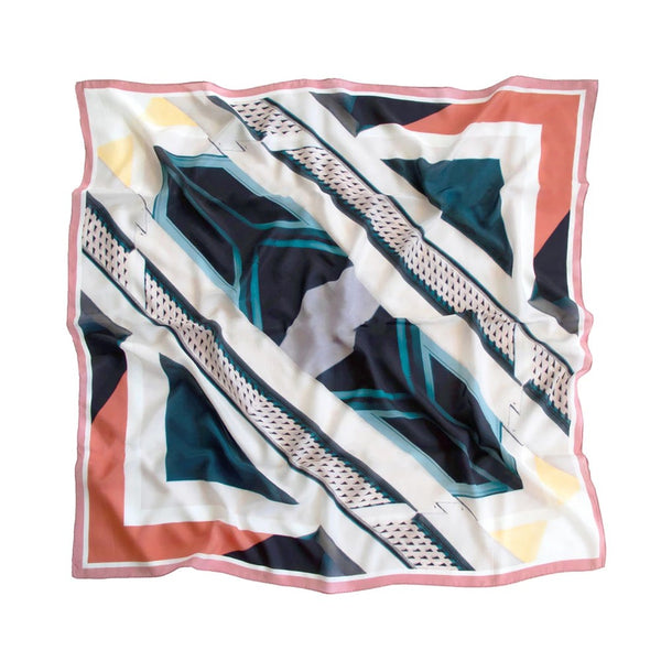 Good & Co Study Coral Square Silk Scarf