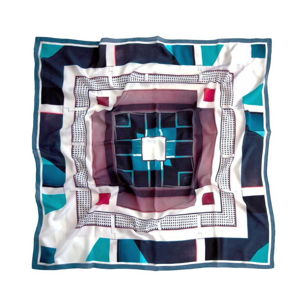 Good & Co Study Navy Square Silk Scarf