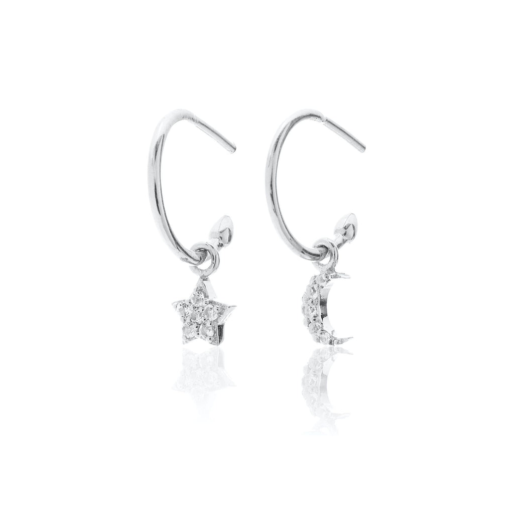 Celestial Hoop Earrings White Topaz  - 2 Colours Earrings Silver silk & STEEL