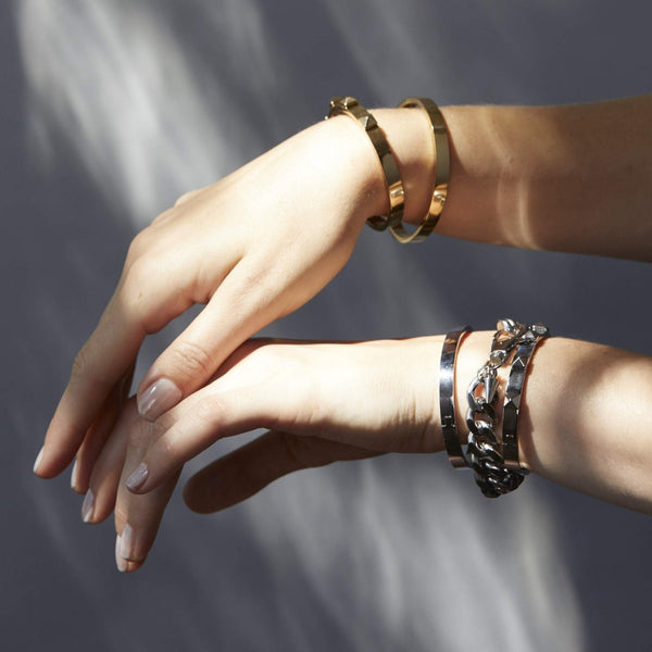 Rock Glam Bangle - 2 Colours Bracelets + Bangles Silver,Gold silk & STEEL