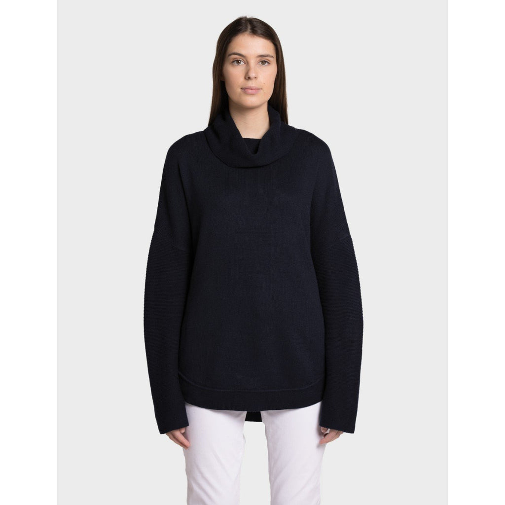 Tora Rolled Turtle Neck Cotton Cashmere Jumper, Neat Navy