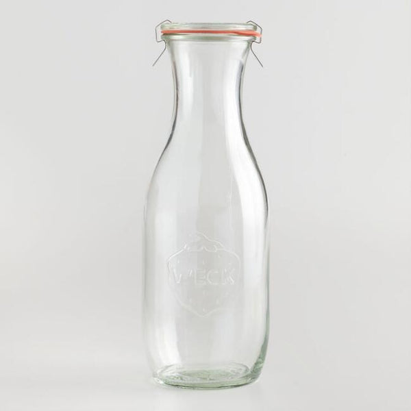 Weck Juice Jar clear glass with glass lid, rubber seal and clamps