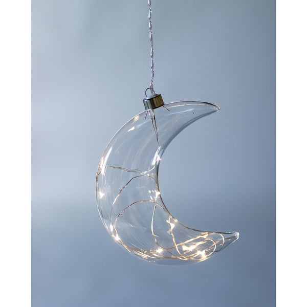 Hanging Clear Glass Crescent Moon Light Warm White Seed Lights