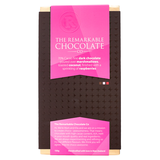 Chocolate Bar | 70% Dark Chocolate | Marshmallow, Coconut & Raspberry Larder Default Title The Remarkable Chocolate Co