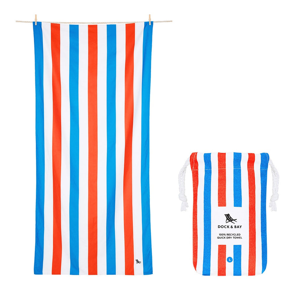 100% Recycled Beach Towel Summer Collection - Poolside Parties - L Beach + Boat + BBQ L Dock & Bay