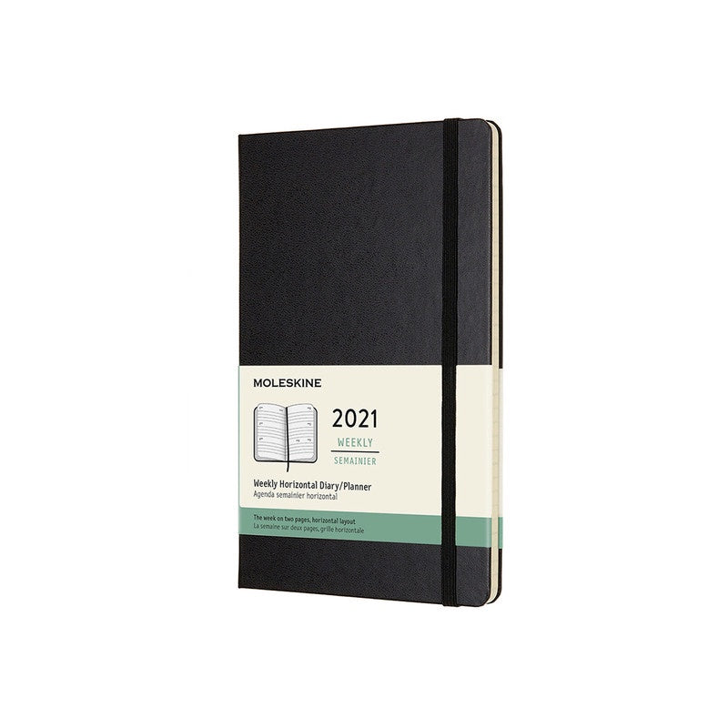 12 Month Weekly Horizontal Hardcover 2021 Diary - 1 Colour Calendars + Diaries Black Moleskine