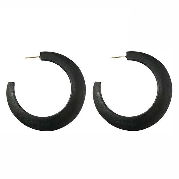 Black Wooden Hoop Suri Earrings