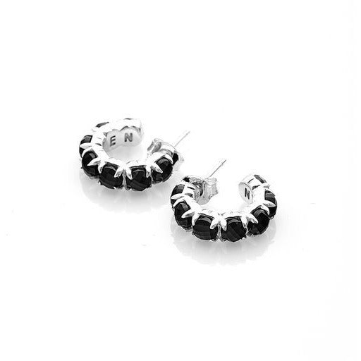 Halo Cluster Earrings - Onyx + Silver Earrings Default Title Stolen Girlfriends Club