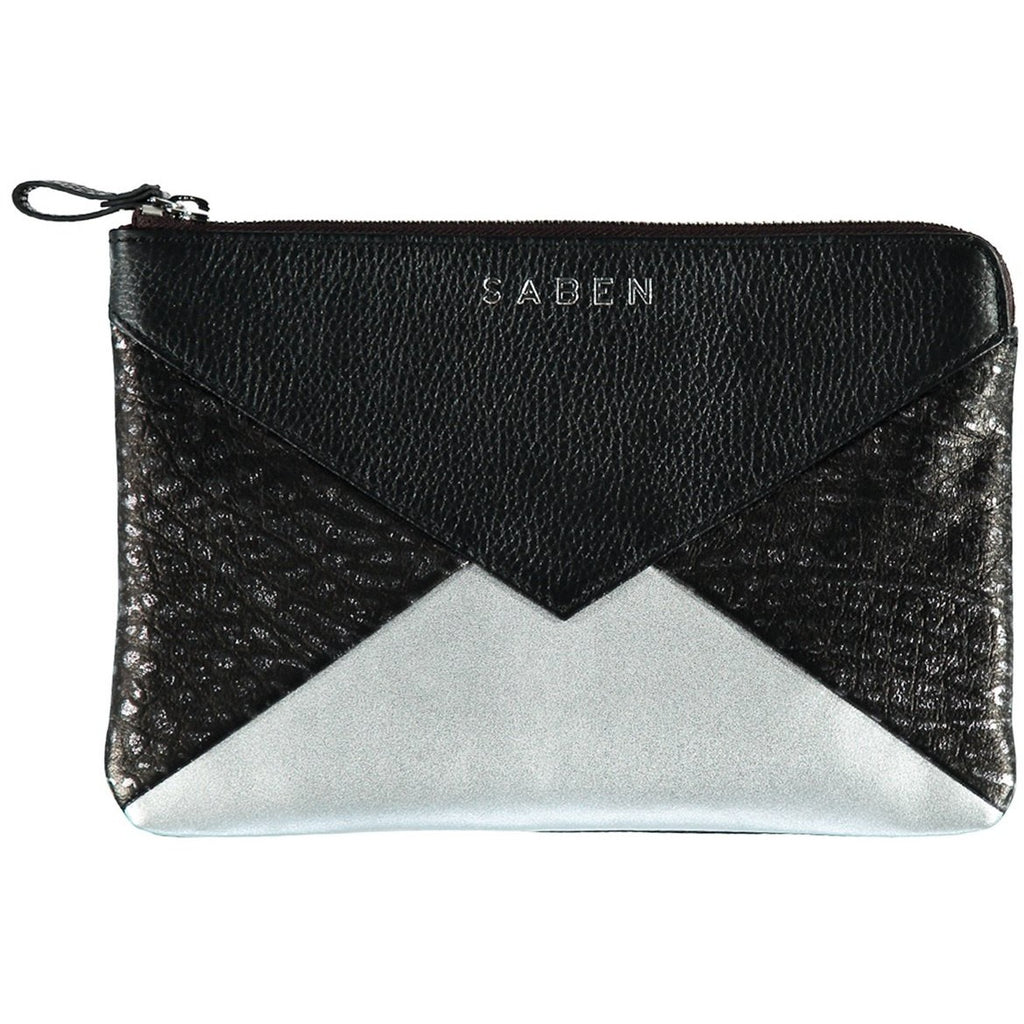 Saben Medium Black Foil Poppy Pouch