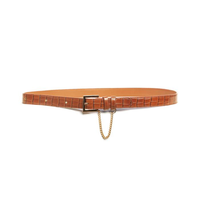Classic Belt - Tan Croc Womens Accessories S,M,L Kathryn Wilson