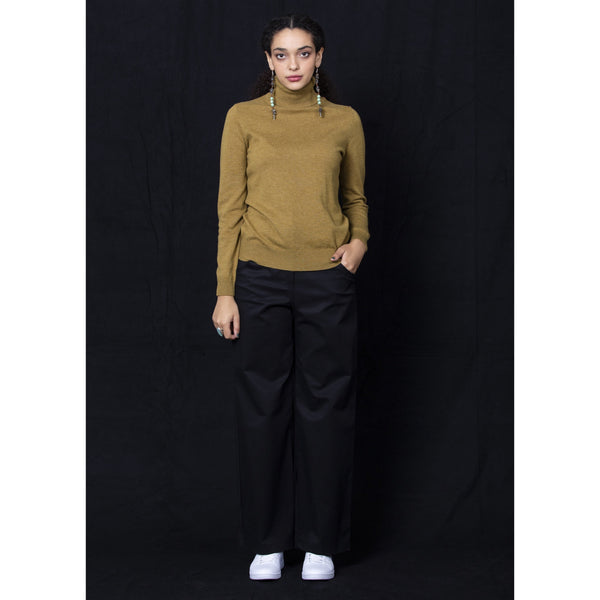 Collette Roll Neck Sweater - Khaki Knits + Sweats 8,10,12,14 Dalston
