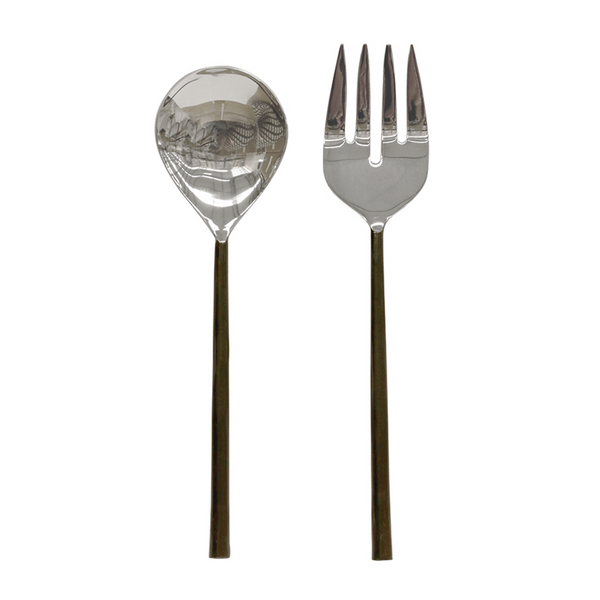 CC Interiors Burnished Black & Stainless Steel Salad Servers, CC Interiors Stockist, Salad Servers
