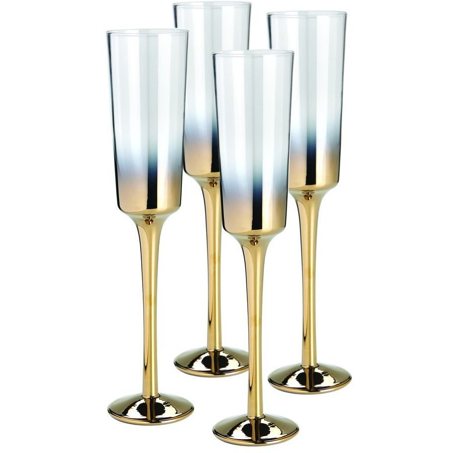 Cariso Gold Champagne Flutes Set of 4