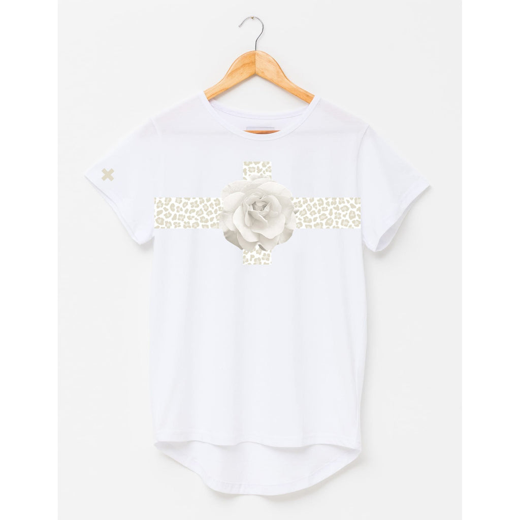 Fierce Floral T Shirt - White TOPS 8,10,12,14,16 Stella & Gemma