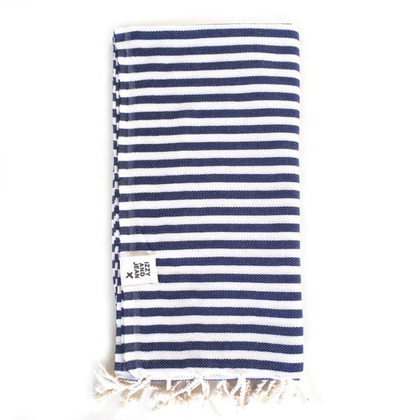 St Tropez Turkish Towel - Navy Beach + Boat + BBQ Default Title Izzy And Jean