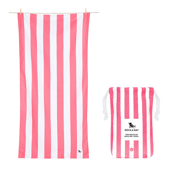 100% Recycled Beach Towel Cabana Light Collection - Kuta Pink - 2 Sizes Beach + Boat + BBQ L,XL Dock & Bay