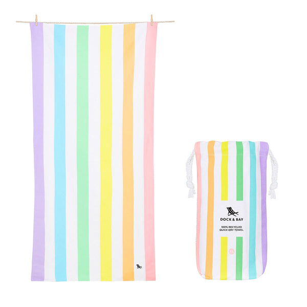 100% Recycled Beach Towel Summer Collection - Unicorn Waves - L Beach + Boat + BBQ L Dock & Bay