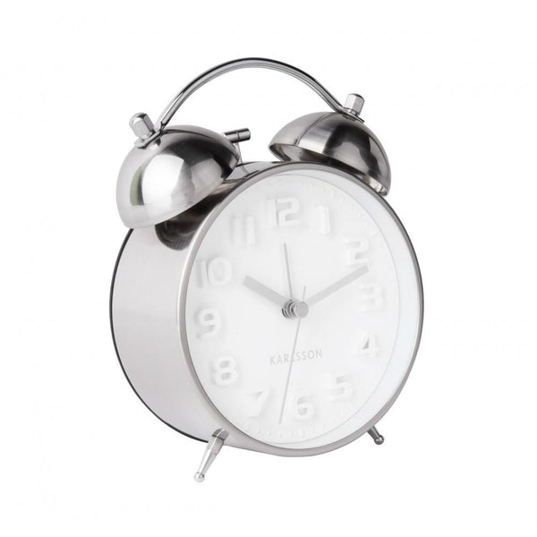 Karlsson Alarm Clock New Mr White with Silver Case
