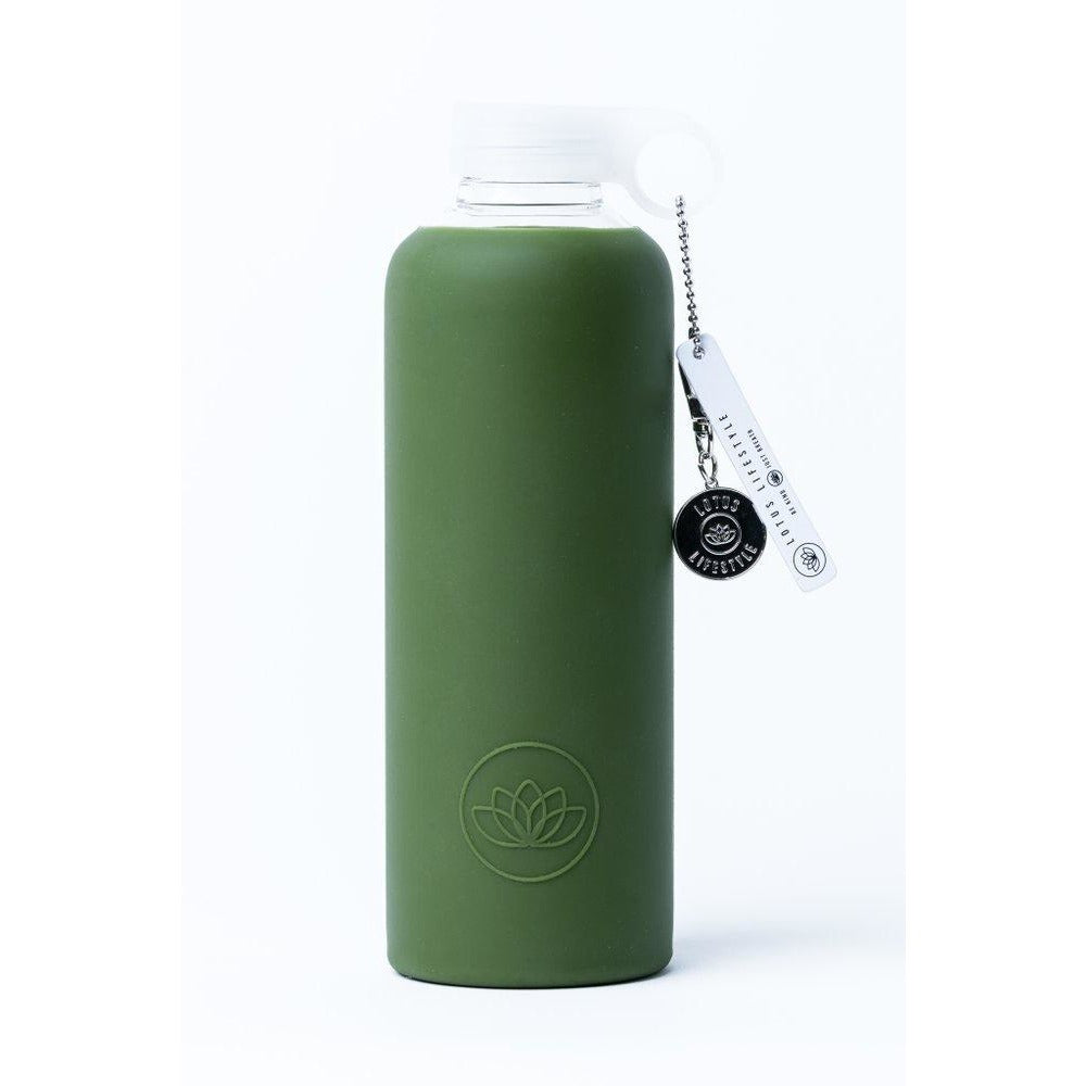 Lotus Glass Water Bottle - Army Green