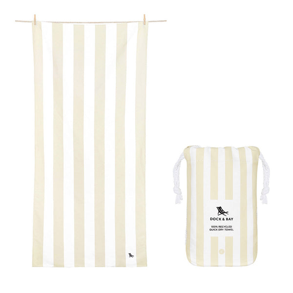 100% Recycled Beach Towel Cabana Light Collection  - Bora Bora Beige - 2 Sizes Beach + Boat + BBQ L,XL Dock & Bay