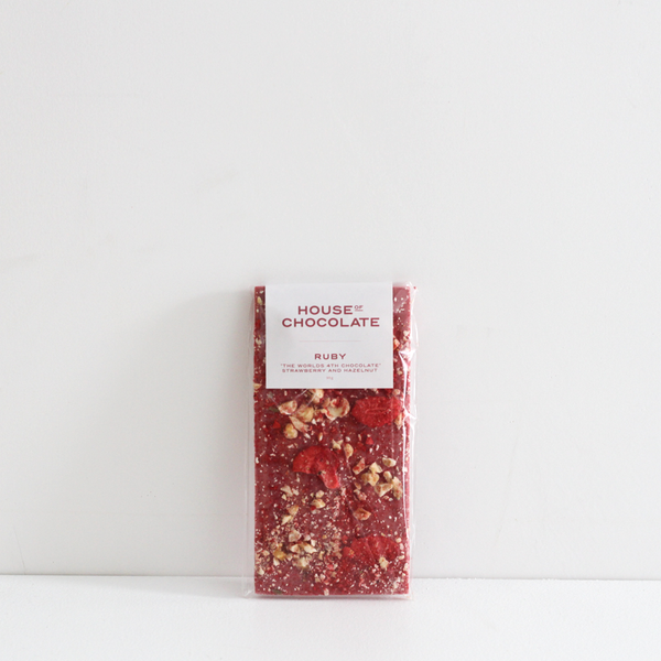 House of Chocolate World's 4th Chocolate 'RUBY' Freeze Dried Strawberry and Hazelnut Bar NZ Made