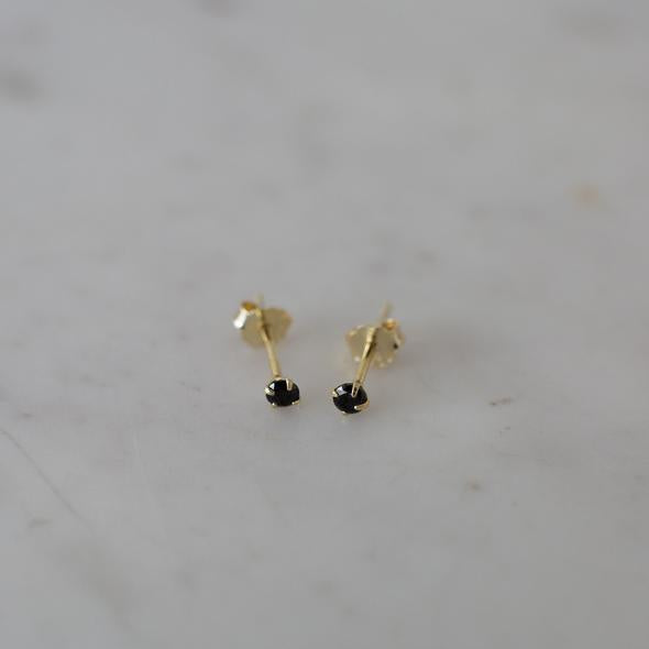Sophie Mini Rock Black Stud Earrings Sterling Silver