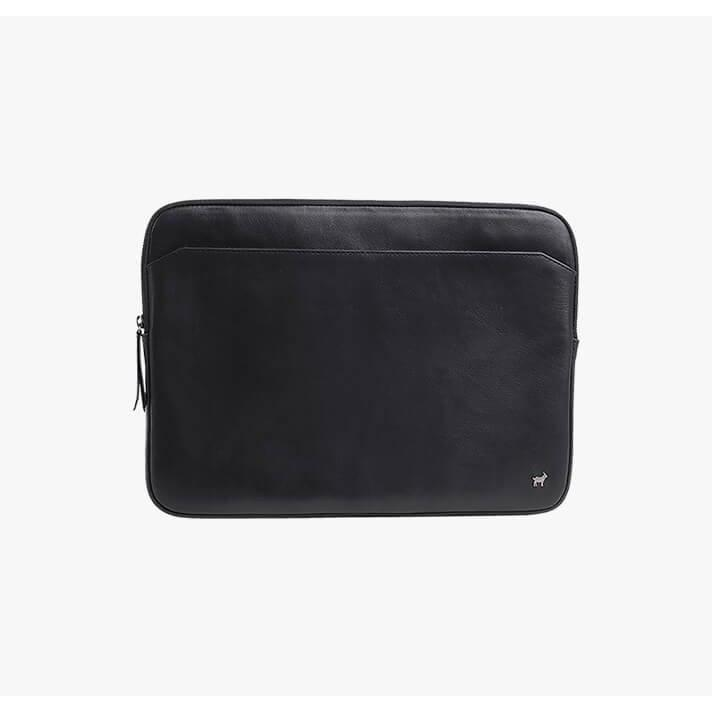 Duffle & Co Blackwell Black Leather Laptop Sleeve