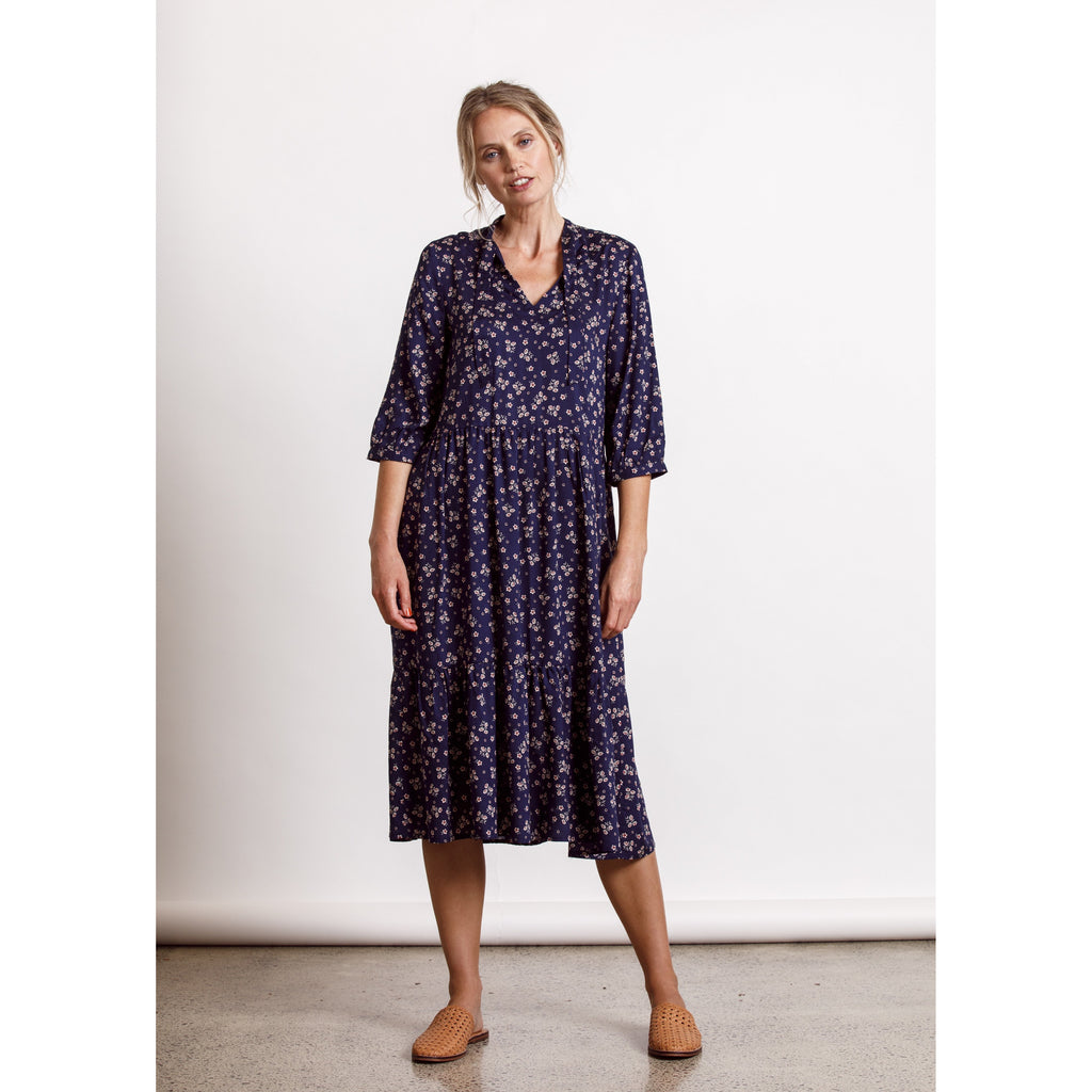 Rosalind Dress - Navy Flower Womens Clothing 8,10,12,14 Dalston