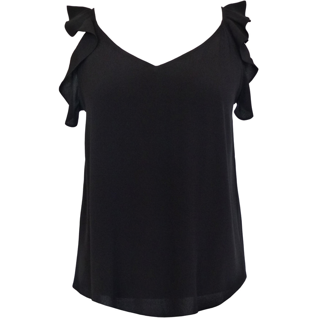 Random Fashions Ruffle Black Top