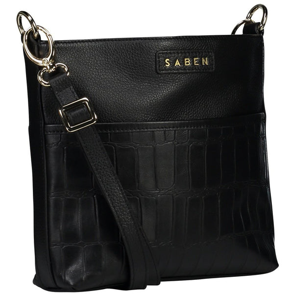 Saben Black Macro Croc Cami leather Bag