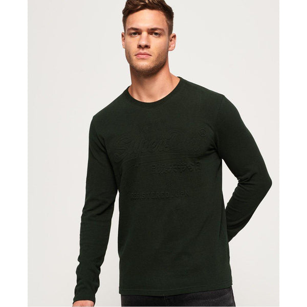 Superdry Vintage Authentic Embossed Long Sleeve Tee Dark Green