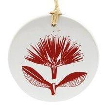 Jo Luping Design - Red Pohutukawa on White
