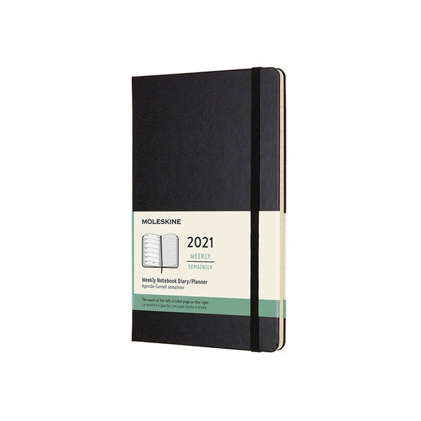12 Month Weekly + Notes Hardcover 2021 Diary - 2 Colours Calendars + Diaries Black Moleskine