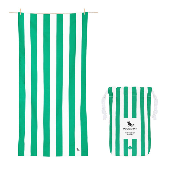 100% Recycled Beach Towel Cabana - Cancun Green - 2 Sizes Beach + Boat + BBQ L,XL Dock & Bay